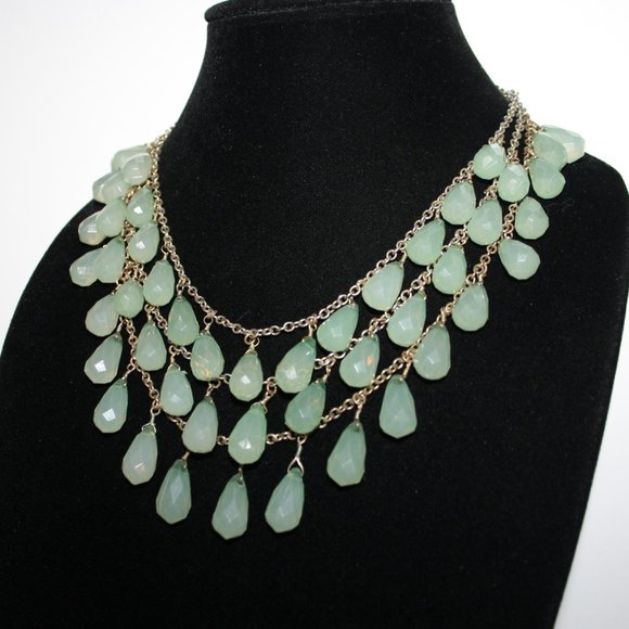 Beautiful silver gold green layered gem necklace